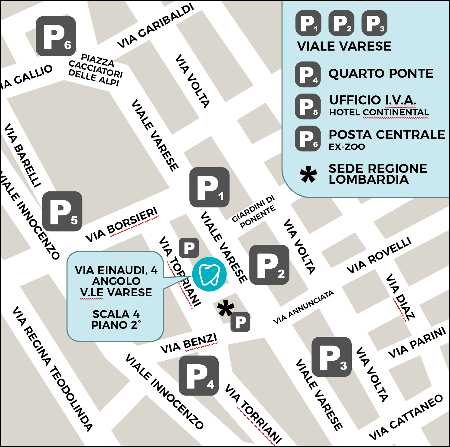 mappa parcheggi studio cappello